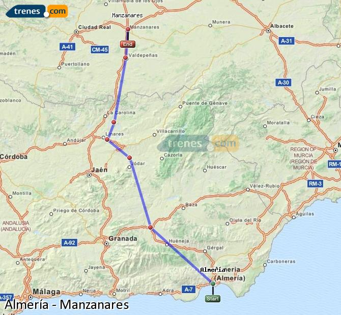 Ampliar mapa Comboios Almería Manzanares