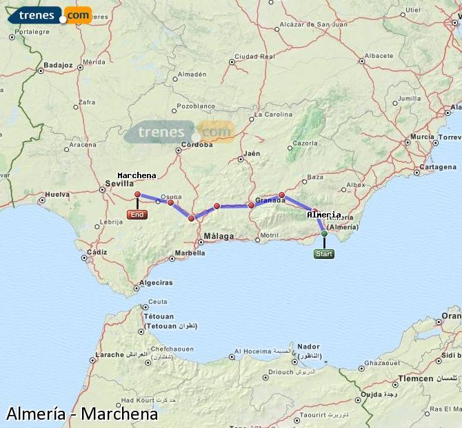 Enlarge map Trains Almeria to Marchena