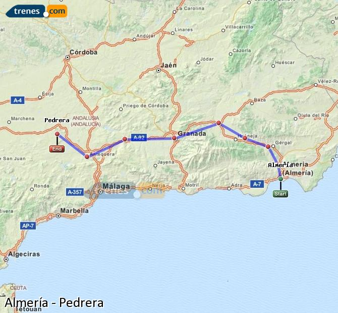 Enlarge map Trains Almeria to Pedrera
