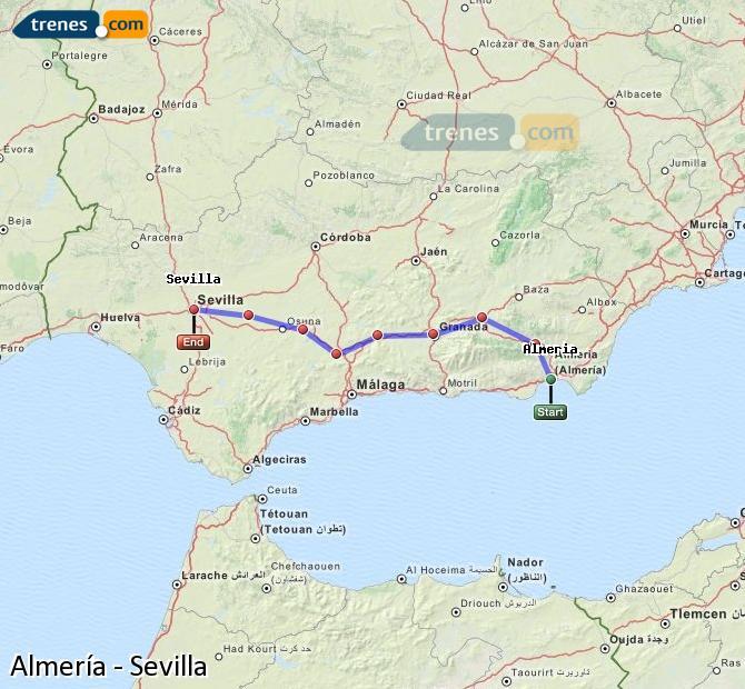 Ampliar mapa Trenes Almería Sevilla