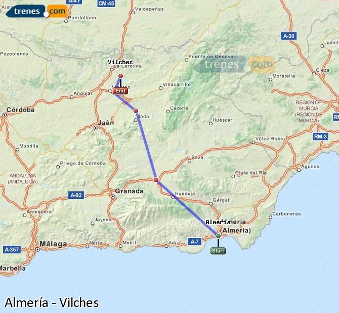Ampliar mapa Comboios Almería Vilches