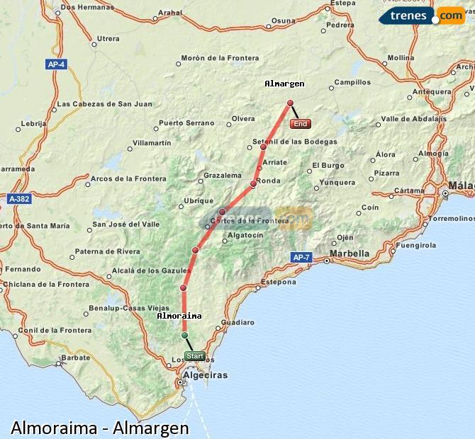 Karte vergrößern Züge Almoraima Almargen