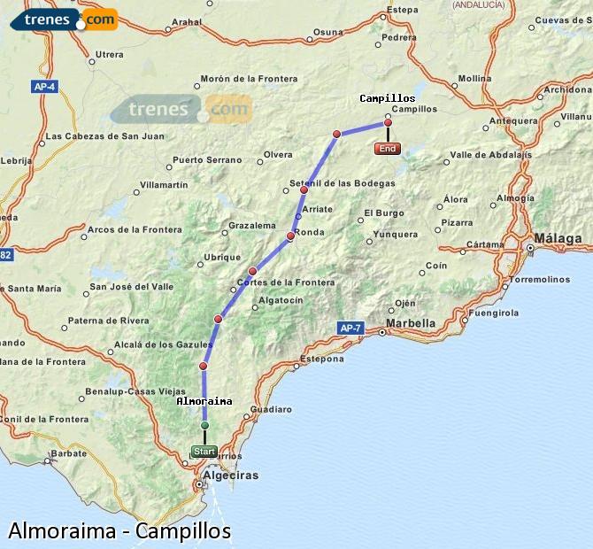 Agrandir la carte Trains Almoraima Campillos