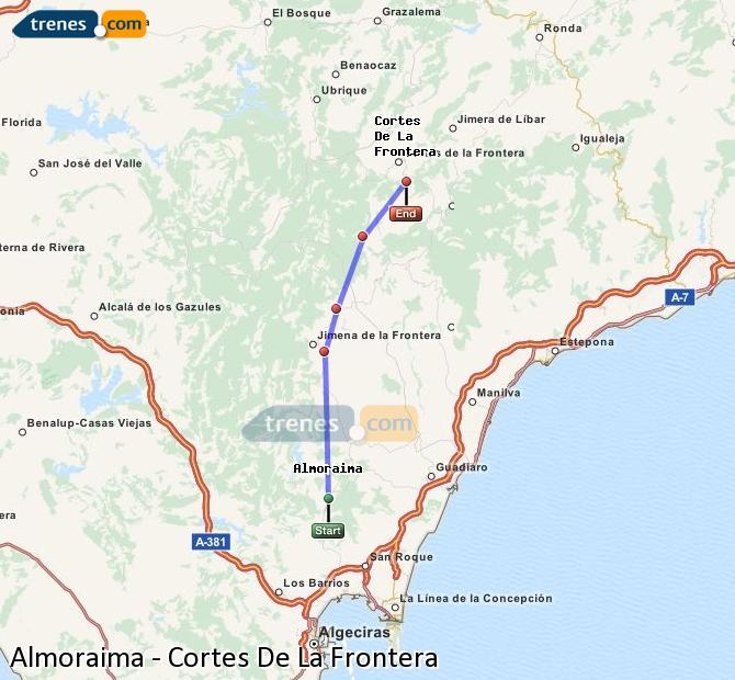 Karte vergrößern Züge Almoraima Cortes De La Frontera