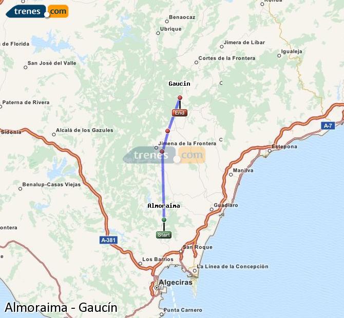 Karte vergrößern Züge Almoraima Gaucín