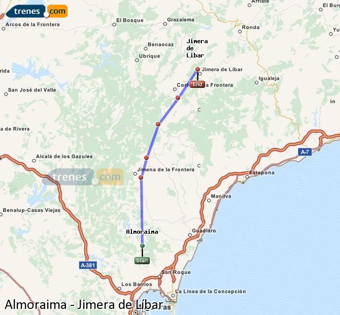 Ampliar mapa Trenes Almoraima Jimera de Líbar