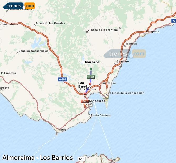 Ingrandisci la mappa Treni Almoraima Los Barrios