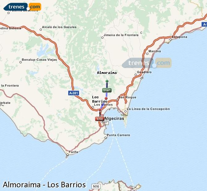 Karte vergrößern Züge Almoraima Los Barrios