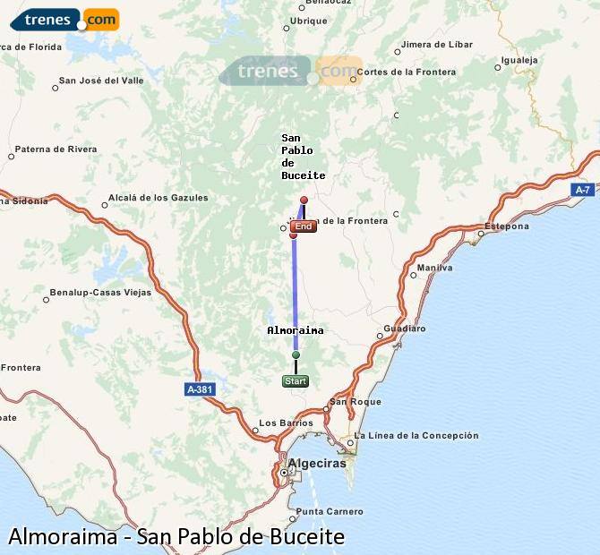 Enlarge map Trains Almoraima to San Pablo de Buceite