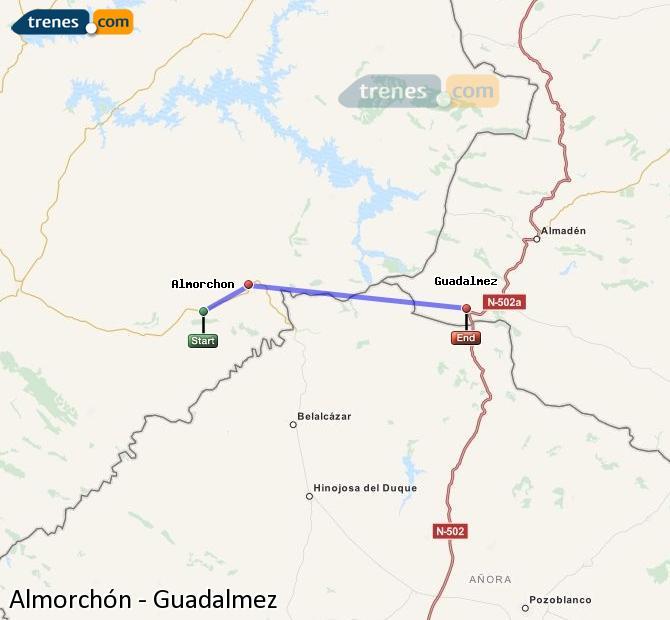 Ampliar mapa Comboios Almorchón Guadalmez