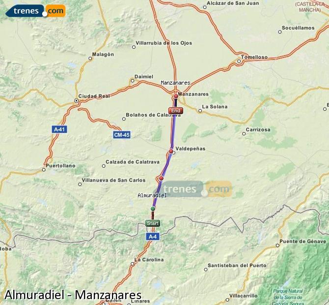 Ampliar mapa Comboios Almuradiel Manzanares