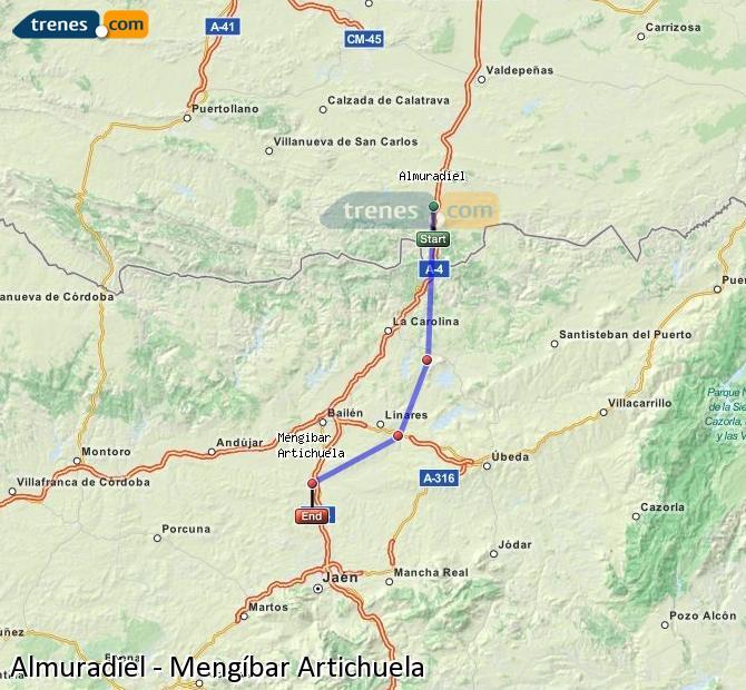 Karte vergrößern Züge Almuradiel Mengíbar Artichuela
