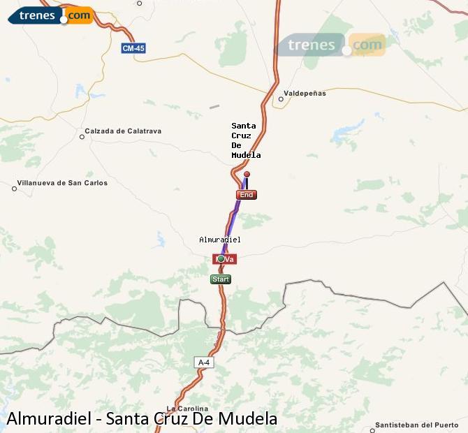 Agrandir la carte Trains Almuradiel Santa Cruz De Mudela