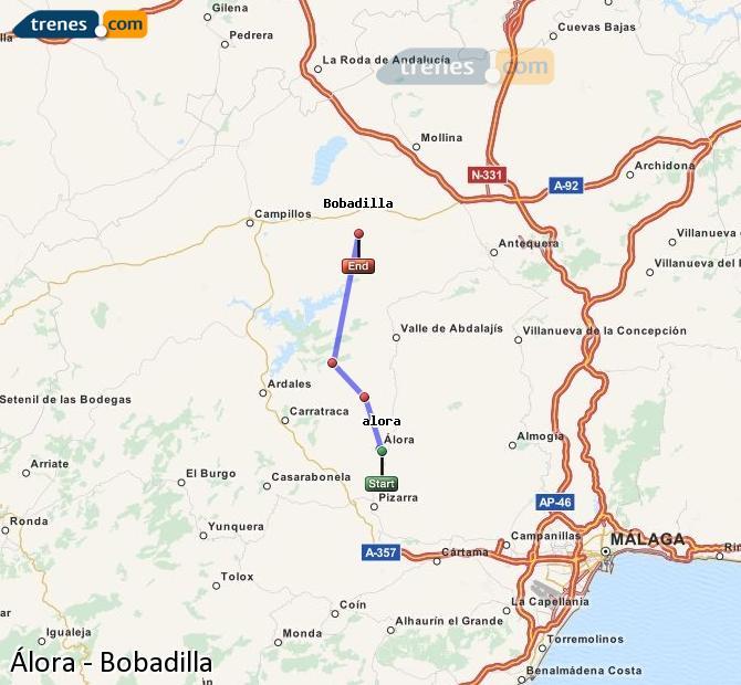 Enlarge map Trains Álora to Bobadilla
