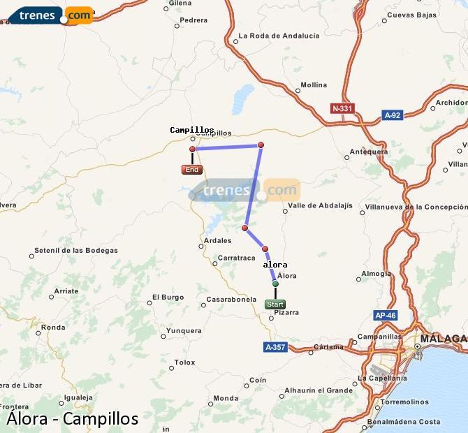 Karte vergrößern Züge Álora Campillos