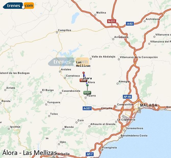 Agrandir la carte Trains Álora Las Mellizas