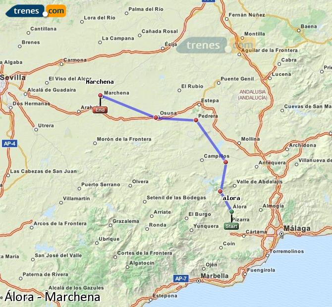 Enlarge map Trains Álora to Marchena