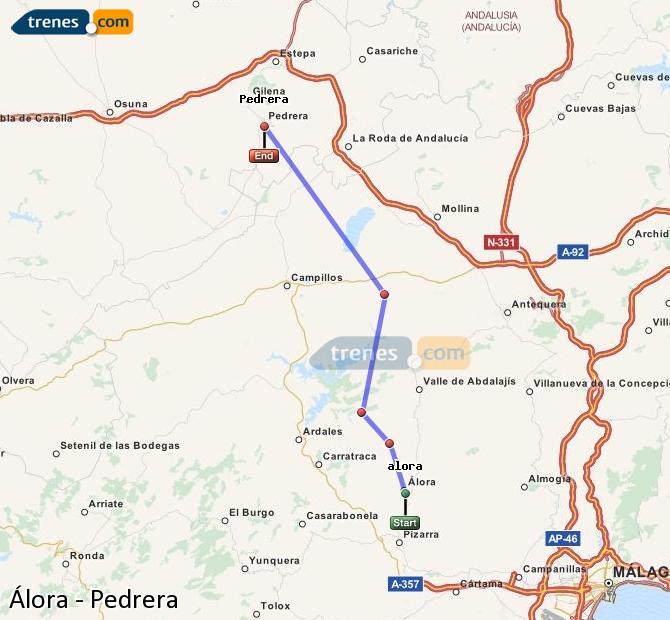 Enlarge map Trains Álora to Pedrera