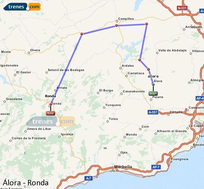 Enlarge map Trains Álora to Ronda