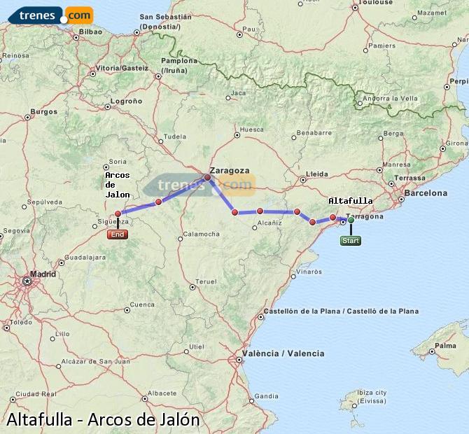 Ingrandisci la mappa Treni Altafulla Arcos de Jalón