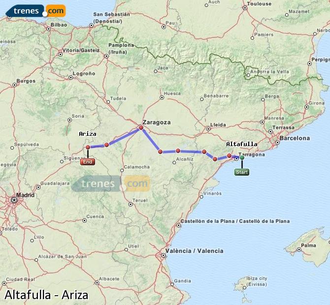 Ampliar mapa Comboios Altafulla Ariza