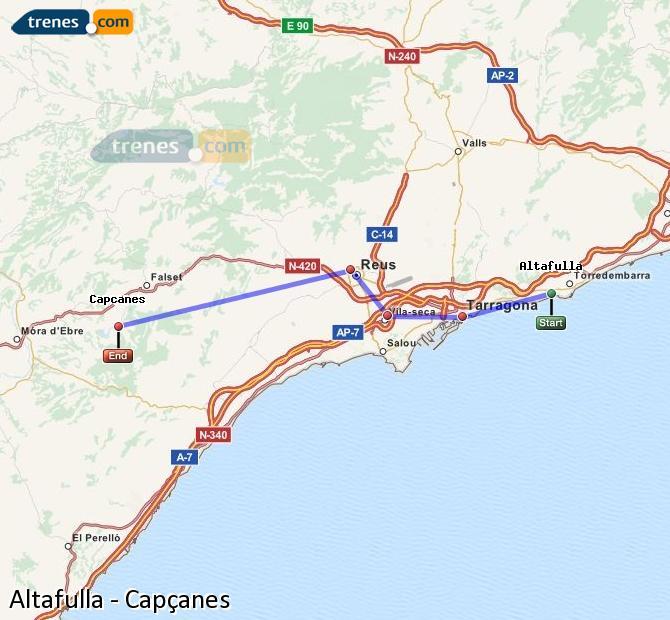 Enlarge map Trains Altafulla to Capçanes