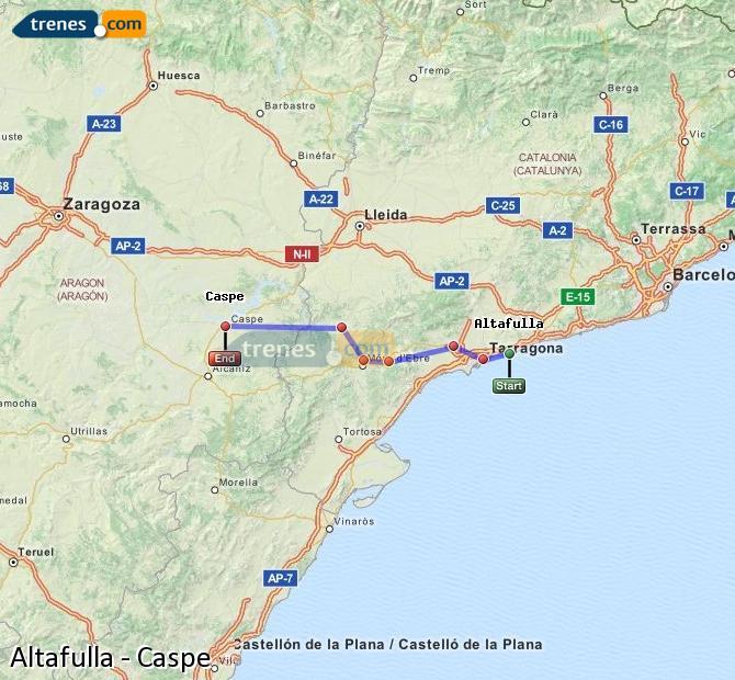 Karte vergrößern Züge Altafulla Caspe