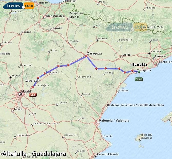 Ampliar mapa Trenes Altafulla Guadalajara