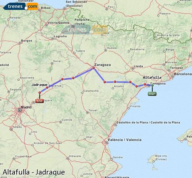 Enlarge map Trains Altafulla to Jadraque