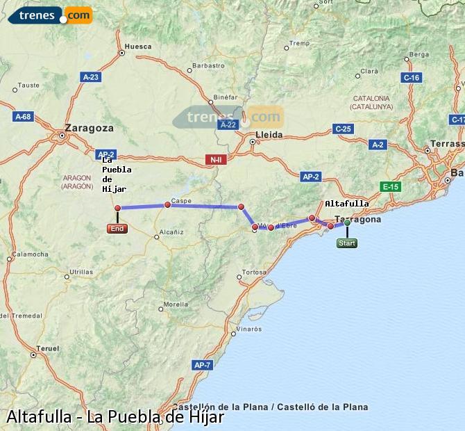Enlarge map Trains Altafulla to La Puebla de Híjar
