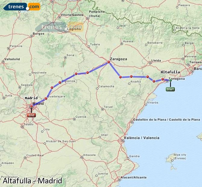 Karte vergrößern Züge Altafulla Madrid