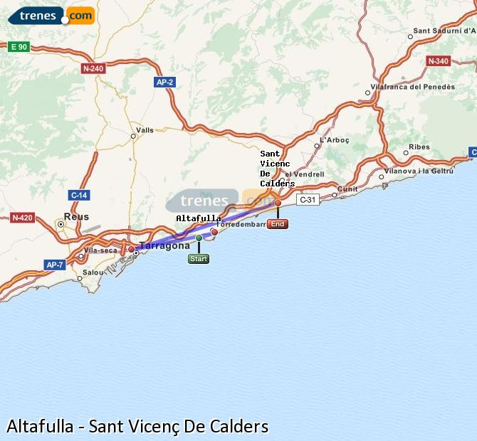 Enlarge map Trains Altafulla to Sant Vicenç De Calders