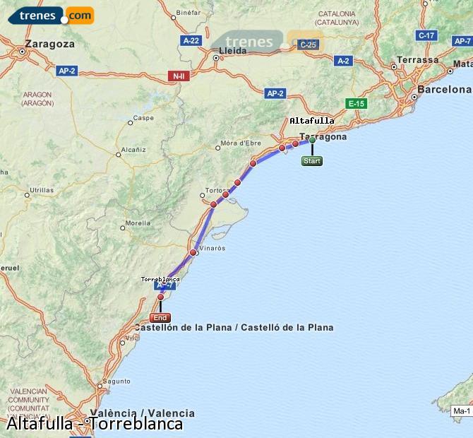 Karte vergrößern Züge Altafulla Torreblanca