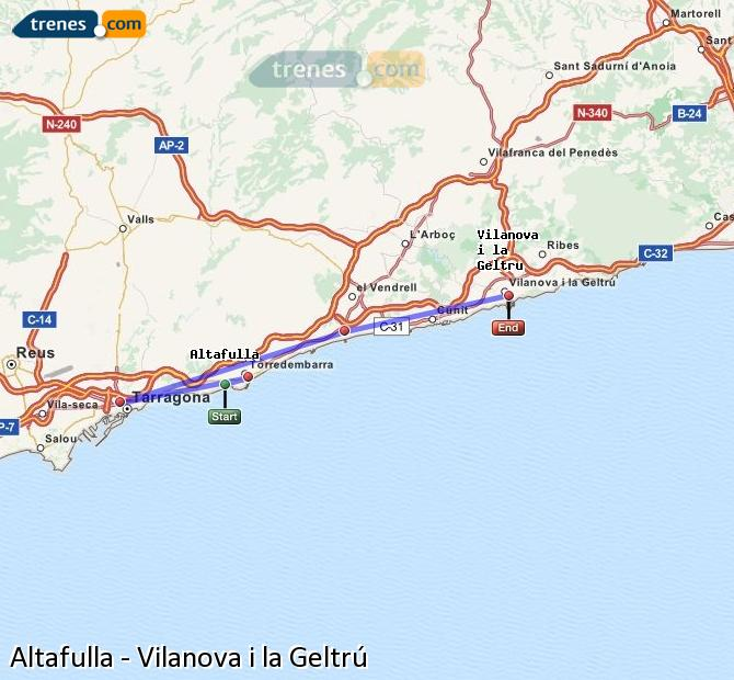 Enlarge map Trains Altafulla to Vilanova i la Geltrú