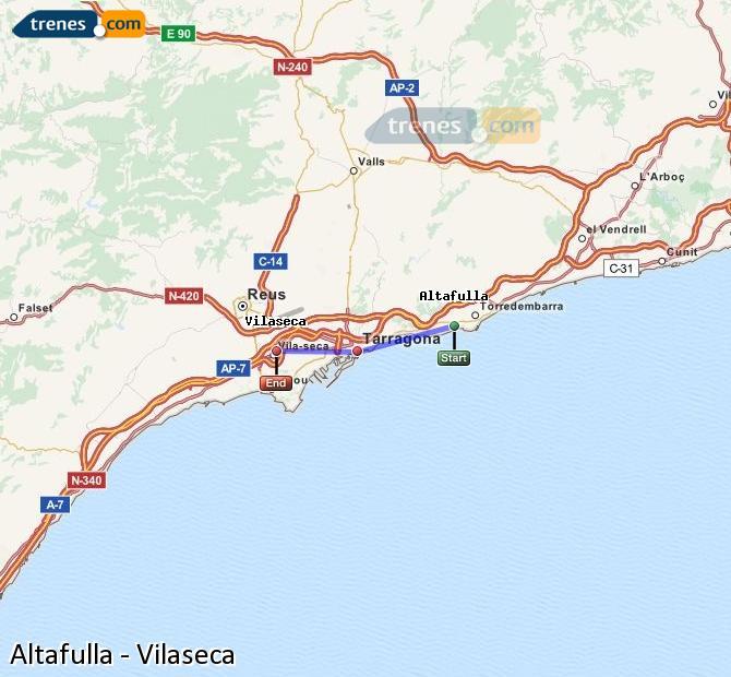 Enlarge map Trains Altafulla to Vilaseca