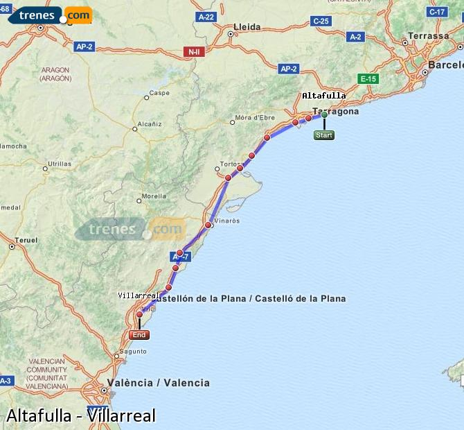 Enlarge map Trains Altafulla to Villarreal
