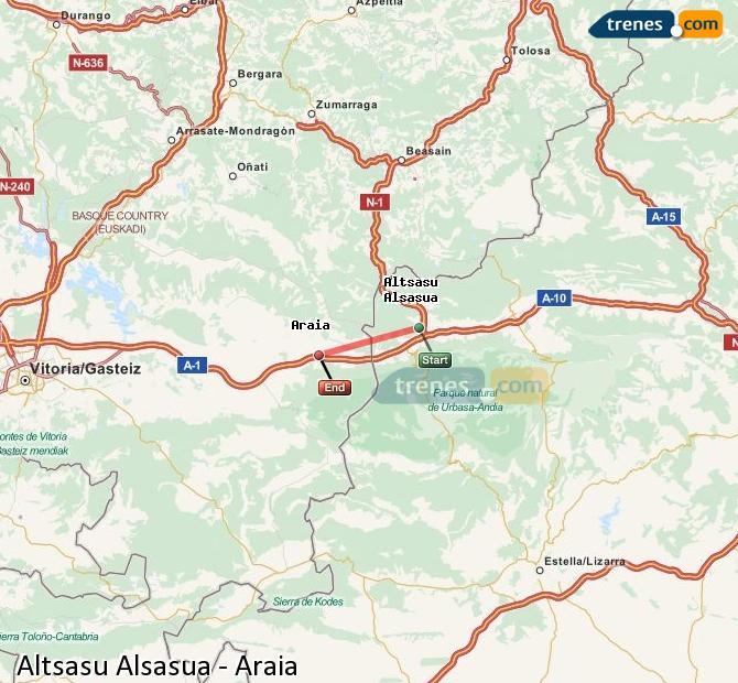 Agrandir la carte Trains Altsasu Alsasua Araia