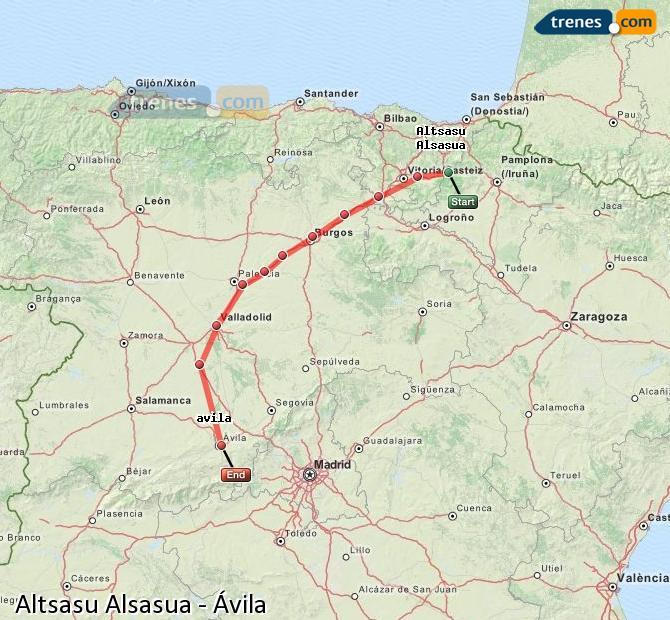 Agrandir la carte Trains Altsasu Alsasua Ávila