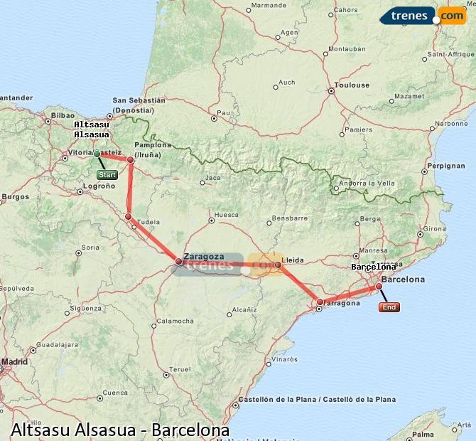 Ingrandisci la mappa Treni Altsasu Alsasua Barcellona