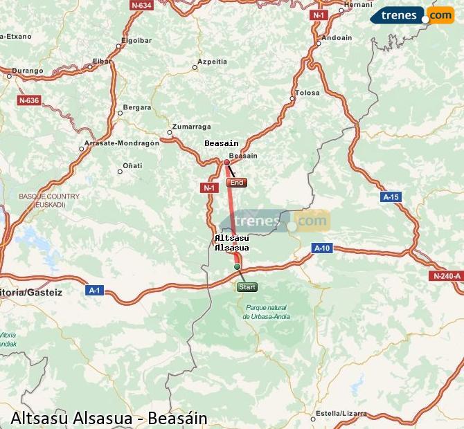 Karte vergrößern Züge Altsasu Alsasua Beasáin