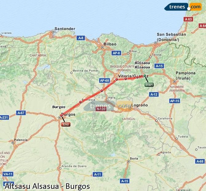 Ingrandisci la mappa Treni Altsasu Alsasua Burgos