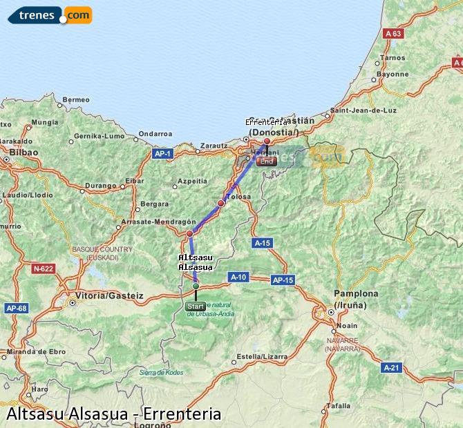 Ampliar mapa Comboios Altsasu Alsasua Errenteria