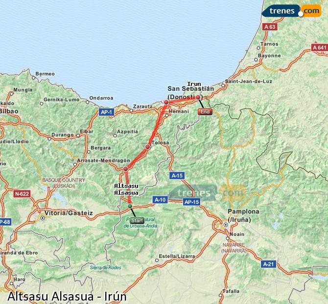 Enlarge map Trains Altsasu Alsasua to Irun
