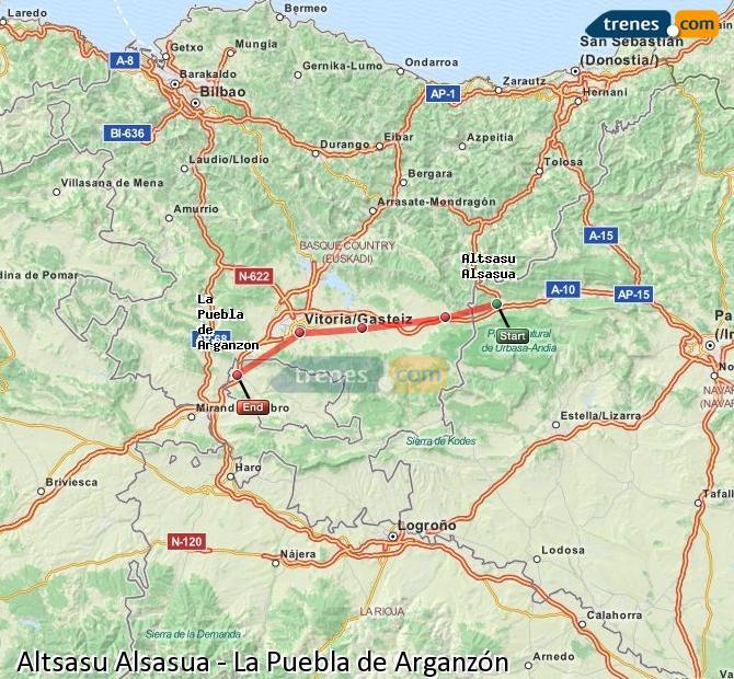 Karte vergrößern Züge Altsasu Alsasua La Puebla de Arganzón