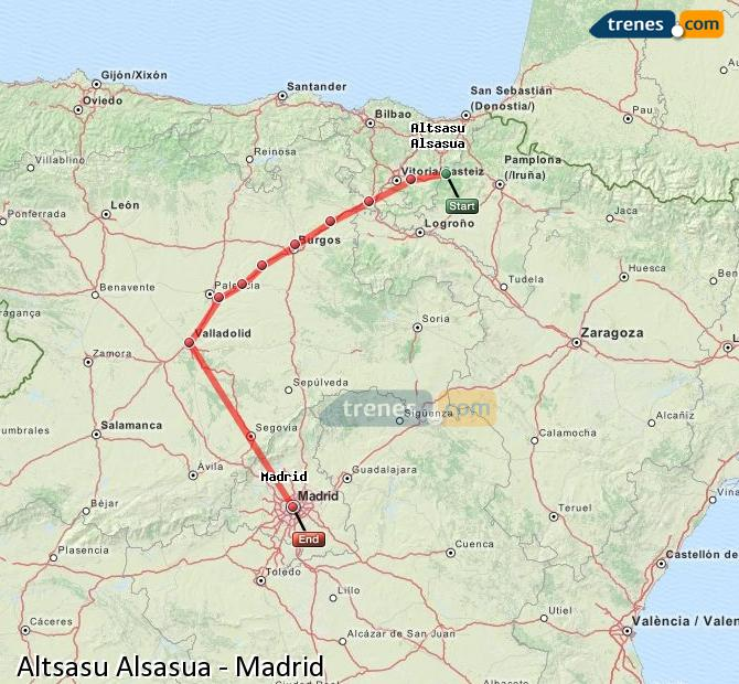 Enlarge map Trains Altsasu Alsasua to Madrid