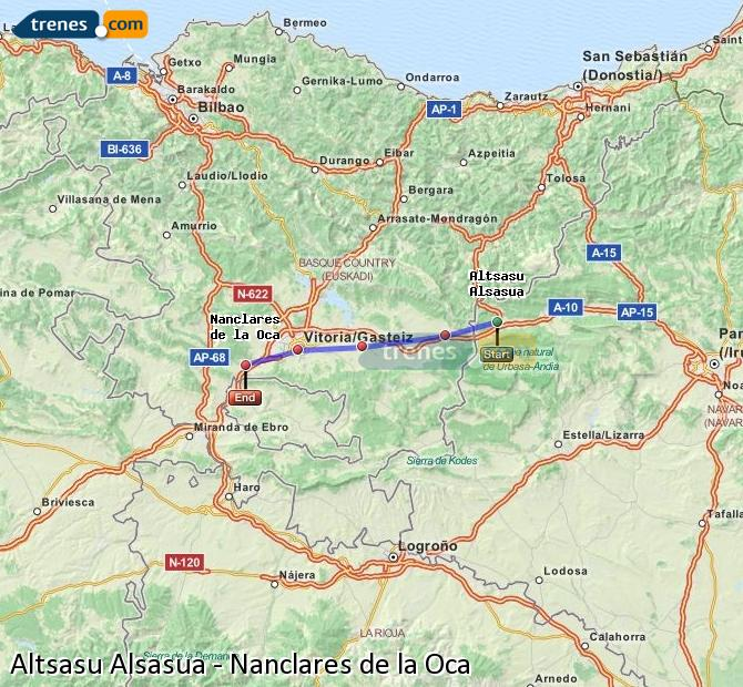 Enlarge map Trains Altsasu Alsasua to Nanclares de la Oca