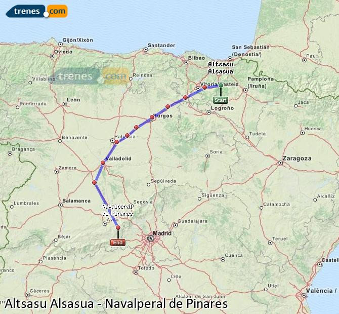 Enlarge map Trains Altsasu Alsasua to Navalperal de Pinares