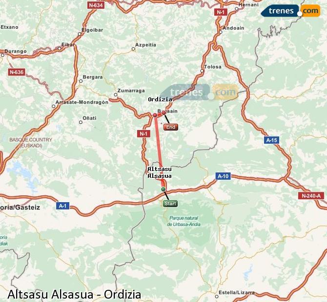 Agrandir la carte Trains Altsasu Alsasua Ordizia
