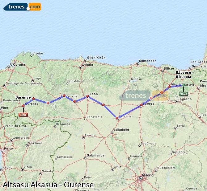 Ingrandisci la mappa Treni Altsasu Alsasua Ourense