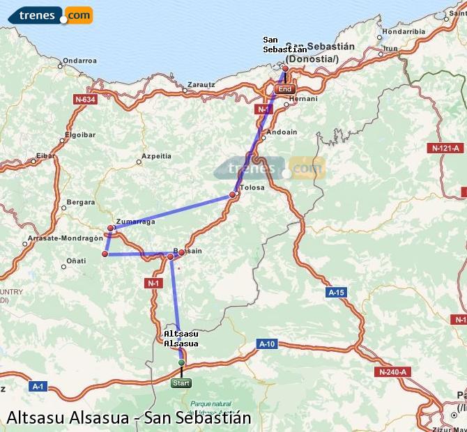Ingrandisci la mappa Treni Altsasu Alsasua San Sebastián